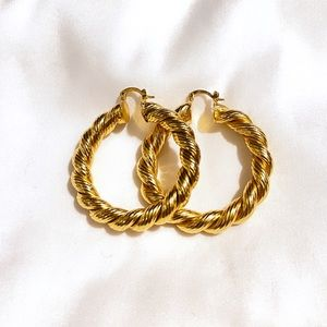 Yellow Gold Thick Rope Design Hoop Earrings